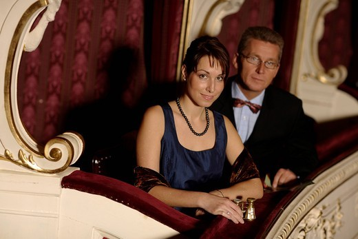 Stock Photo: 1848-463202 Couple seated in a theatre box, opera