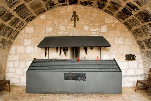 Stock Photo: 1848-46333 Altar for votive candles in the tower of the Castillo, Sanctuario de la Vera Cruz, sanctuary of the true cross in Caravaca de La Cruz, Province Murcia, Spain, Europe