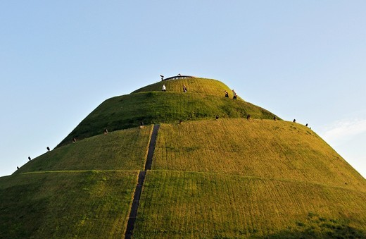 Climbing visitors reveal actual scale of Kosciuszko Mound, Kopiec Kosciuszki, raised in 1820s in Krakow, Cracow, Poland, Europe : Stock Photo