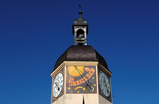 Detail of the old clock tower, 16th century, castle complex Burghausen, castle No. 48, Burghausen, Upper Bavaria, Germany, Europe : Stock Photo