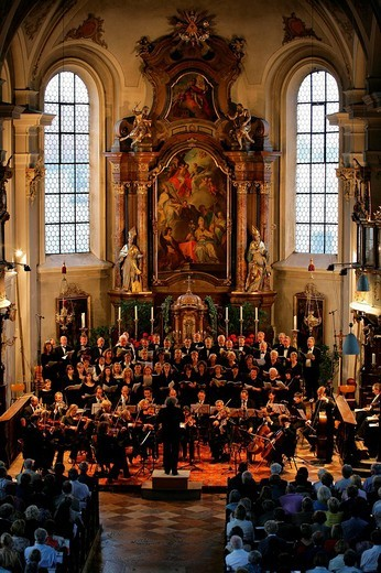 Stock Photo: 1848-46386 Concert in St. Nikolaus Parish Church, Muehldorf am Inn, Bavaria, Germany, Europe
