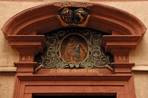 Detail of a decorative doorway with a holy image from 1711, Freiburg im Breisgau, Baden_Wuerttemberg, Germany, Europe : Stock Photo