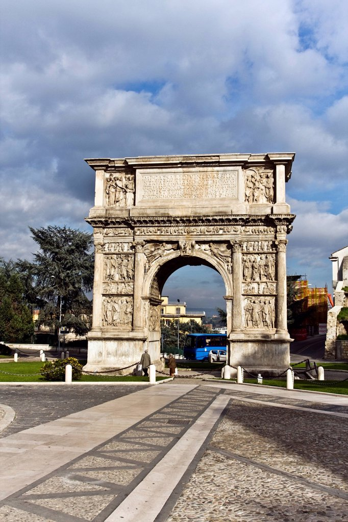 Stock Photo: 1848-464416 Triumphal Arch of Trajan, 114_117 a.C., Roman building, Benevento, Campania, South of Italy, Europe