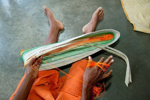 Weaving work, hospital, Butaweng, Papua New Guinea, Melanesia : Stock Photo