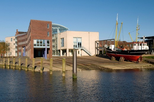 Shipyard of Husum, Husum, North Friesland, Schleswig_Holstein, Germany, Europe : Stock Photo