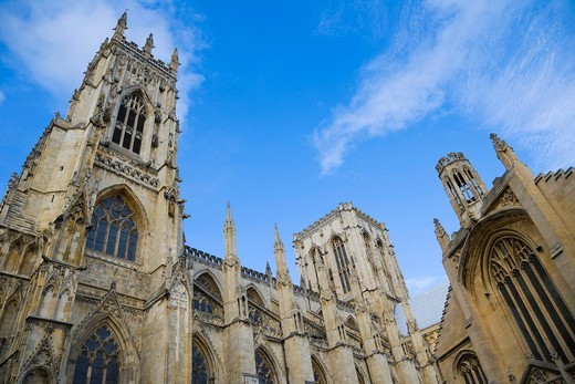 York Minster south face and St Michael le Belfrey Church, York, Yorkshire, England, United Kingdom, Europe : Stock Photo
