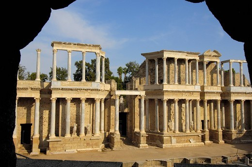 Stock Photo: 1848-464714 Ruins, theater in the old Roman city Emerita Augusta, Ruta de la Plata, Merida, Badajoz province, Spain, Europe