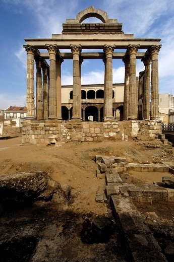 Stock Photo: 1848-464722 Ruins of Diana´s temple, in the old Roman city Emerita Augusta, Merida, Badajoz province, Ruta de la Plata, Spain, Europe