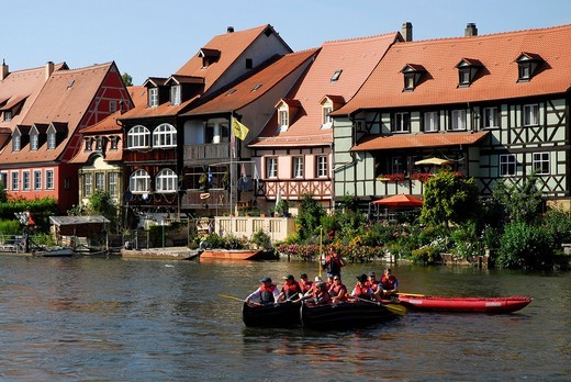 Stock Photo: 1848-464761 Little Venice at the Regnitz river, UNESCO World Heritage Site Bamberg, Upper Franconia, Bavaria, Germany, Europe