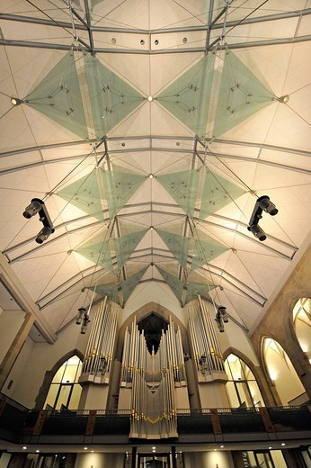 New roof construction and new Muehleisenorgel orgab, interior of the Stiftskirche collegiate church, landmark and oldest Protestant church in Stuttgart, Baden_Wuerttemberg, Germany, Europe : Stock Photo