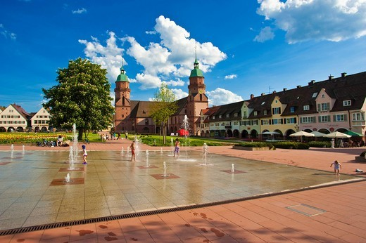 Playful fountains on Lower Market Square in front of the Parish Church, Freudenstadt, Black Forest, Baden_Wuerttemberg, Germany, Europe : Stock Photo