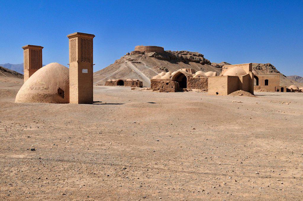 Stock Photo: 1848-465074 Tower of Silence, Zoroastrian burial ground, Zoroastrianism, Mazdanism, Yazd, Persia, Iran, Asia