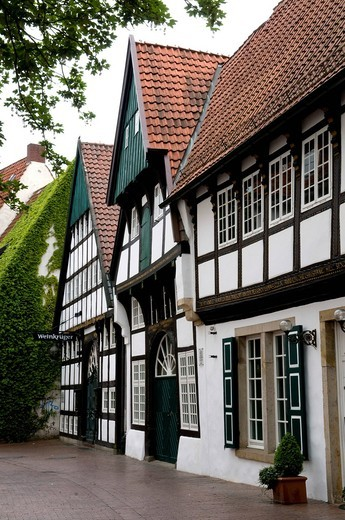 Half_timbered house with wine tavern in the historic town of Osnabrueck, Lower Saxony, Germany, Europe : Stock Photo