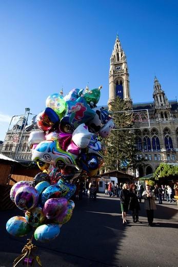 Stock Photo: 1848-465575 Christkindlmarkt Christmas Market, on the town hall square, metropolis Vienna, Austria, Europe