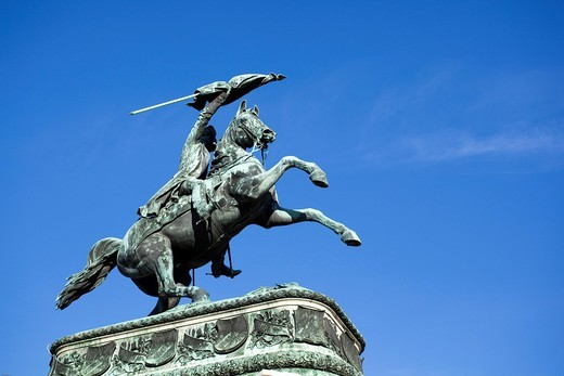 Equestrian statue of Emperor Franz Ferdinand on the Ringstrasse, metropolis Vienna, Austria, Europe : Stock Photo