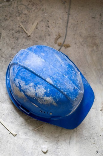 Stock Photo: 1848-46577 Blue hardhat from above