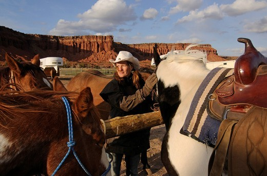 Cowgirl, rider at Torrey, Capitol Reef National Park, Utah, USA : Stock Photo