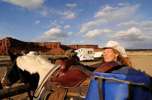 Stock Photo: 1848-465976 Cowgirl, rider at Torrey, Capitol Reef National Park, Utah, USA