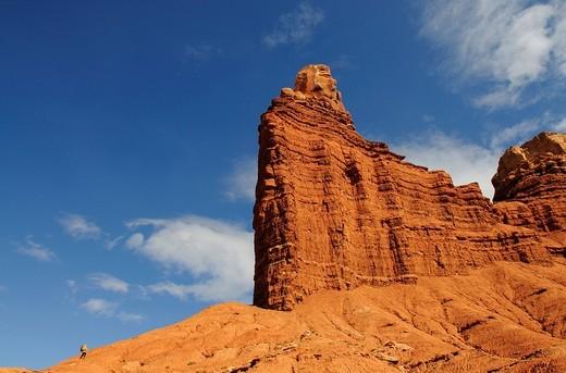 Chimney Rock, hiker, Capitol Reef National Park, Utah, USA : Stock Photo
