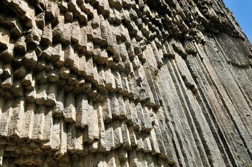 Huge basalt columns at Awan Gorge near Garni, Canyon, Kotayk region, Armenia, Asia : Stock Photo