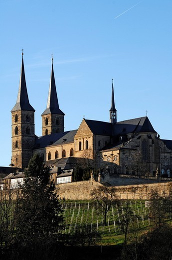 St. Michael church or Kloster Michelsberg abbey, newly built in 1712, Michelsberg, Bamberg, Upper Franconia, Bavaria, Germany, Europe : Stock Photo
