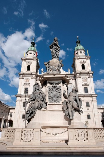 Cathedral seen from Cathedral Square, Salzburg, Austria, Europe : Stock Photo