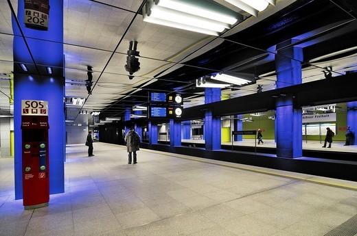 Metro station, Muenchner Freiheit, Munich, Bavaria, Germany, Europe : Stock Photo