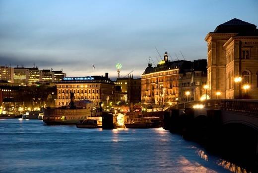 Stock Photo: 1848-467360 Blasieholmen at night, Stockholm, Sweden, Scandinavia, Europe