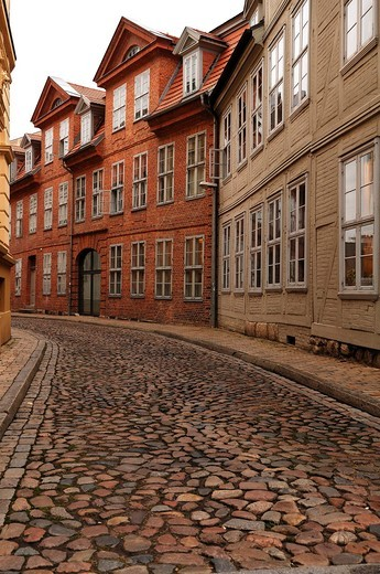 Old renovated brick and timber_framed house, Ritterstrasse, Schwerin, Mecklenburg_Western Pomerania, Germany, Europe : Stock Photo
