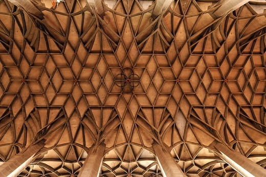Stock Photo: 1848-467914 Fan vault in the Marienkirche church or Marktkirche Unser Lieben Frauen Church of Our Lady, late Gothic, built 1529_1554, Marktplatz, Halle Saale, Saxony_Anhalt, Germany, Europe