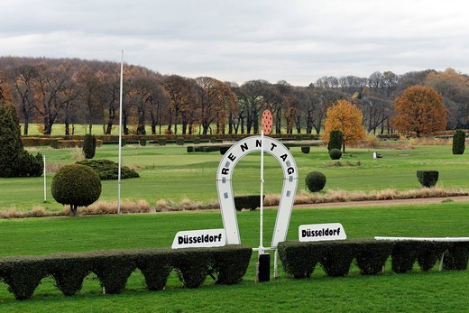 Grafenberg racecourse, shield in horseshoe shape inscribed with Renntag, race day, Duesseldorf, North Rhine_Westphalia, Germany, Europe : Stock Photo