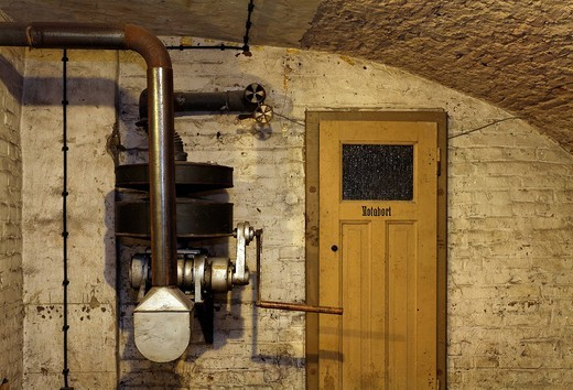 Historic air raid shelter, the remains of the air raid precuationary installation and toilet, memorial for Nazi victims, Duesseldorf, North Rhine_Westphalia, Germany, Europe : Stock Photo