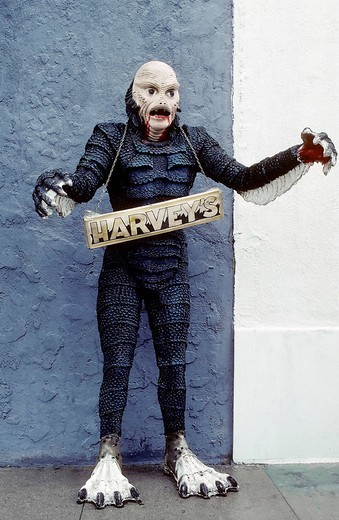 Fish_man with scaly skin, life_size figure from a horror film, for sale, Hollywood, Los Angeles, California, USA : Stock Photo