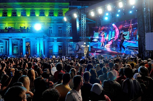 ESC Eurovision Song Contest Final, public viewing in the town centre, Belgrade, Serbia, Europe : Stock Photo
