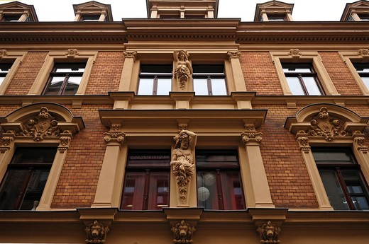 Detail of a decorative Classicistic house facade, Dachritzstr. 2, Halle Saale, Saxony_Anhalt, Germany, Europe : Stock Photo