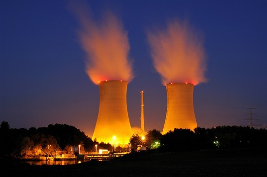 Stock Photo: 1848-468165 Grafenrheinfeld nuclear power station, Bavaria, Germany, Europe