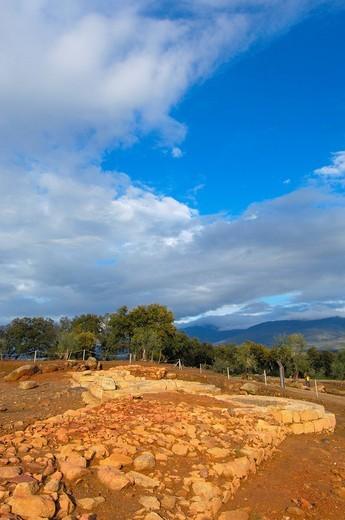 Roman ruins of Cáparra, Guijo de Jarandilla, Cáceres province, Ruta de la Plata, Extremadura, Spain, Europe : Stock Photo
