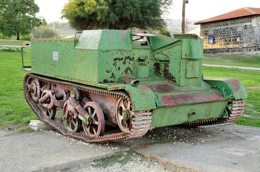 Historic tank, Old Gesher, Israel, Middle East, Orient : Stock Photo