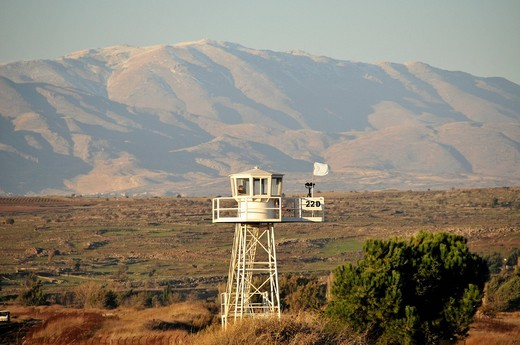 Israeli watchtower at the Israeli_Syrian border crossing at Quneitra, Golan Heights, Israel, Middle East, Orient : Stock Photo