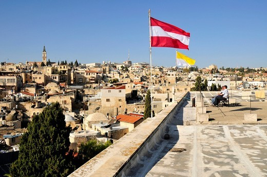 Panorama terrace of the Austrian Pilgrims Hospice in the historic centre of Jerusalem, Israel, Middle East, Orient : Stock Photo
