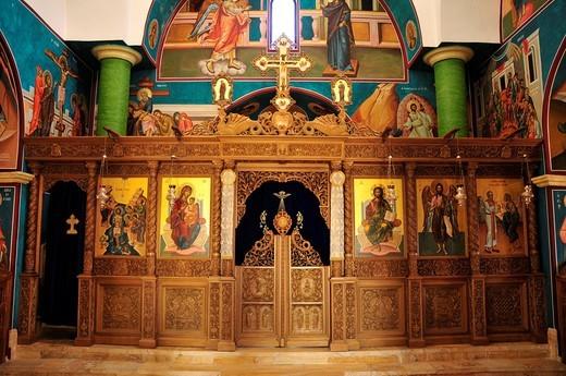 Stock Photo: 1848-468636 Iconostasis of the Greek Orthodox St. John Church, baptistry at the baptism site on the Jordan River, Jordan, Middle East, Orient
