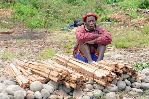 Dani man selling firewood on the market of Wamena, Baliem Valley, West Papua, former Irian Jaya, Island of Papua New Guinea, Indonesia, Southeast Asia, Asia : Stock Photo