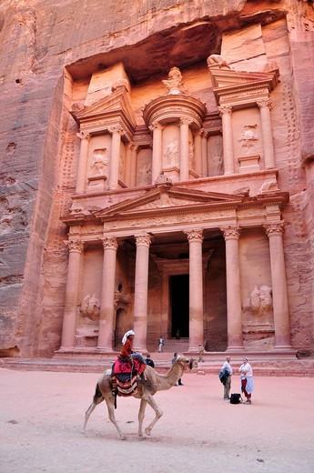 Stock Photo: 1848-468709 Façade of the treasury, Khazne Faraun, in the Nabataean city Petra, Unesco World Heritage Site, near Wadi Musa, Jordan, Middle East, Orient