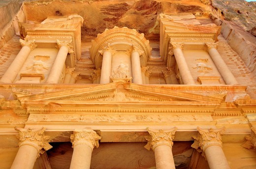 Façade of the treasury, Khazne Faraun, in the Nabataean city Petra, Unesco World Heritage Site, near Wadi Musa, Jordan, Middle East, Orient : Stock Photo
