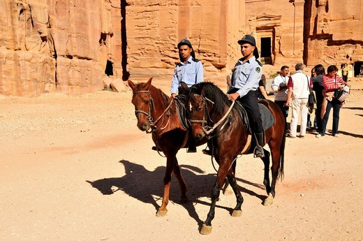 Stock Photo: 1848-468726 Two officers of the tourist police on horses, Nabataean city of Petra, Unesco World Heritage Site, near Wadi Musa, Jordan, Middle East, Orient