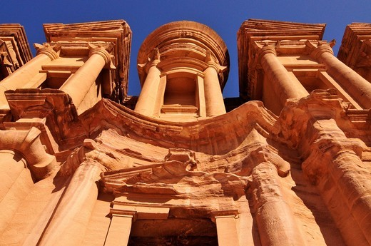 Stock Photo: 1848-468765 Facade of the procession monastery Ed_Deir in the Nabataean city of Petra, World Heritage Site near Wadi Musa, Jordan, Middle East, Orient