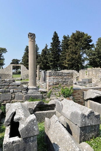 Stock Photo: 1848-469005 Sarcophagi in the ruins of an early Christian basilica of Salona near Split, Croatia, Europe