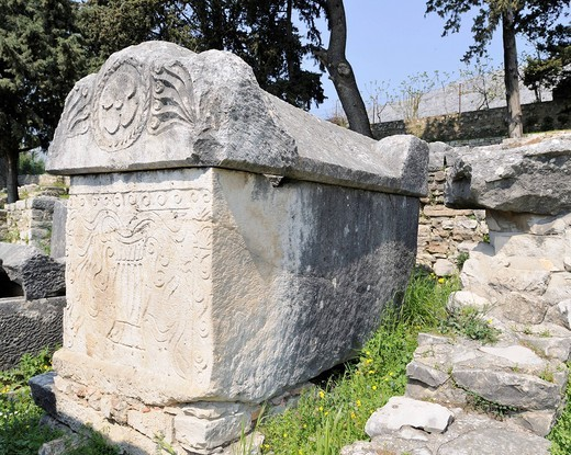 Sarcophagi in the ruins of an early Christian basilica of Salona near Split, Croatia, Europe : Stock Photo