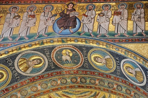 Stock Photo: 1848-469099 Triumphal arch decorated with mosaics from the 6th Century, depicting Christ as a Judge of the world and the apostles, Euphrasian Basilica in Porec, Croatia, Europe