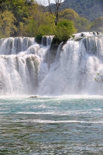 Waterfalls in Krka Falls National Park, Croatia, Europe : Stock Photo